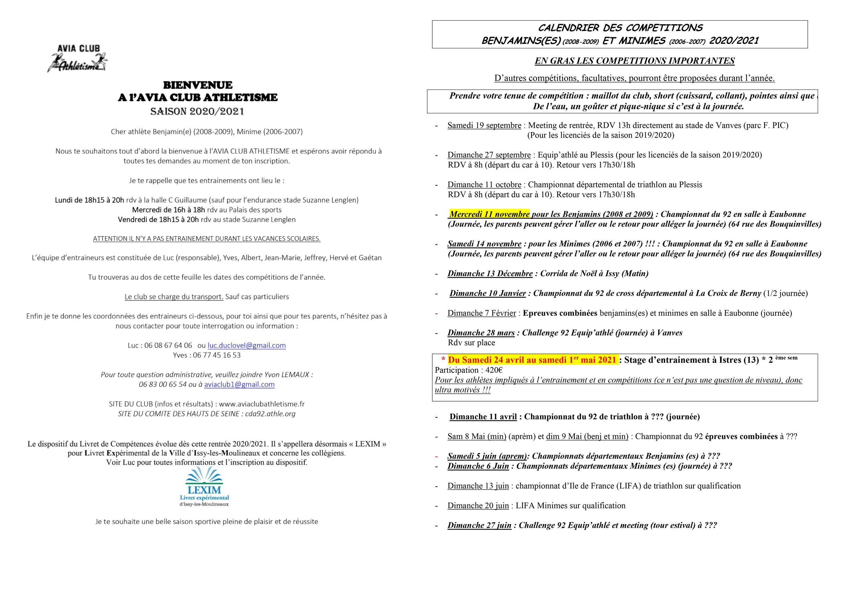 INFORMATIONS BENJAMINS/MINIMES 2020-2021