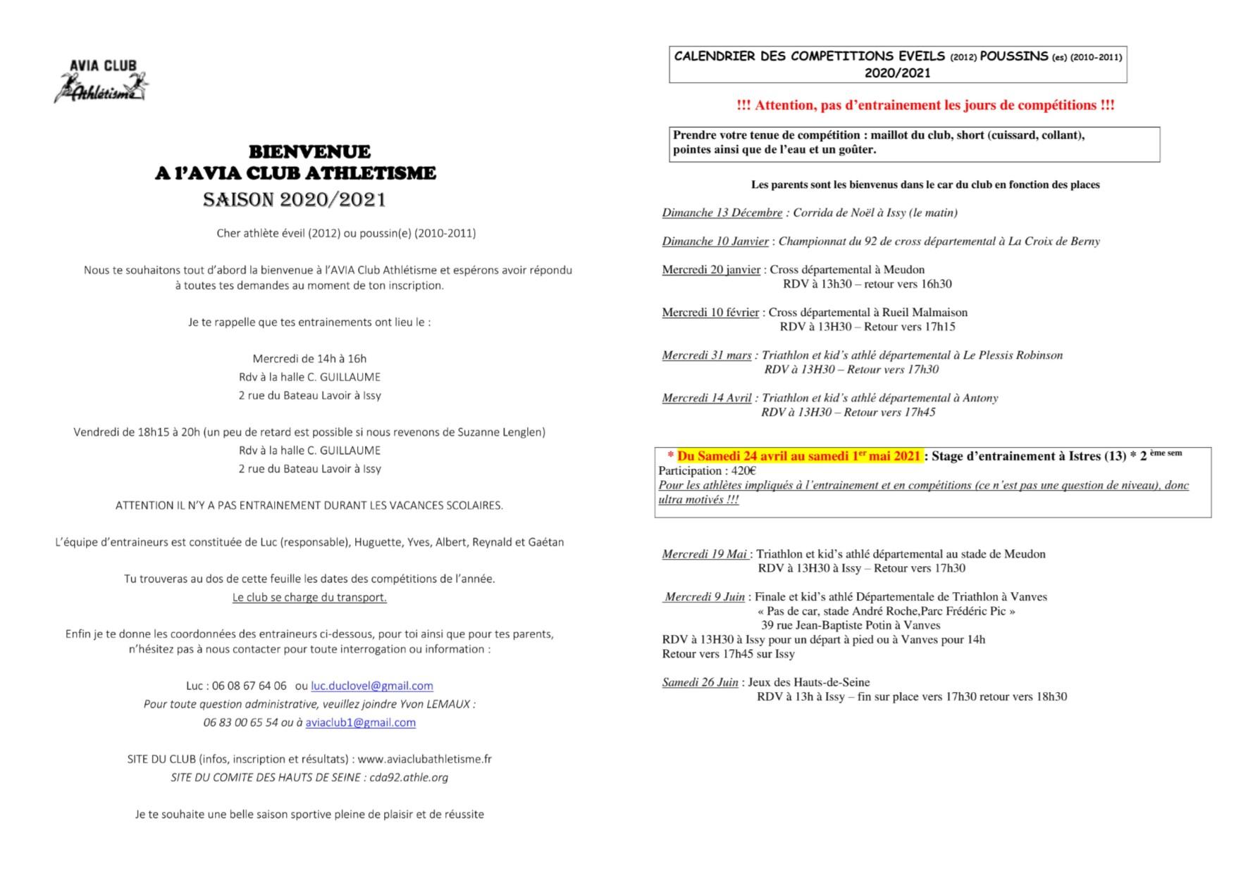 INFORMATIONS Eveil 2/Poussins    -   2020-2021